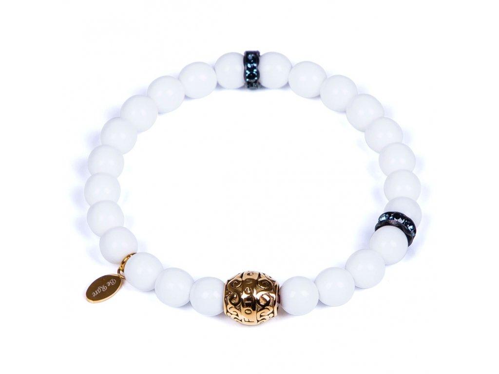 Luxusní párový korálkový náramek Forever Gold White se Swarovski® bílý chirurgická ocel zlaté prvky