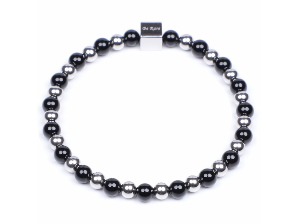 Luxusní dámský korálkový náramek Premium Minimalistic Silver černý achát AAAAAA 6mm stříbrná chirurgická ocel Be Rare