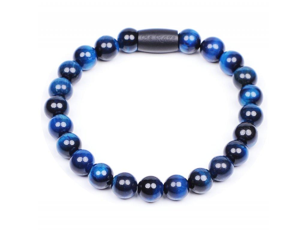 Luxusní pánský korálkový náramek Simple Tiger eye blue modré tygří oko AAAAAA Be Rare černý