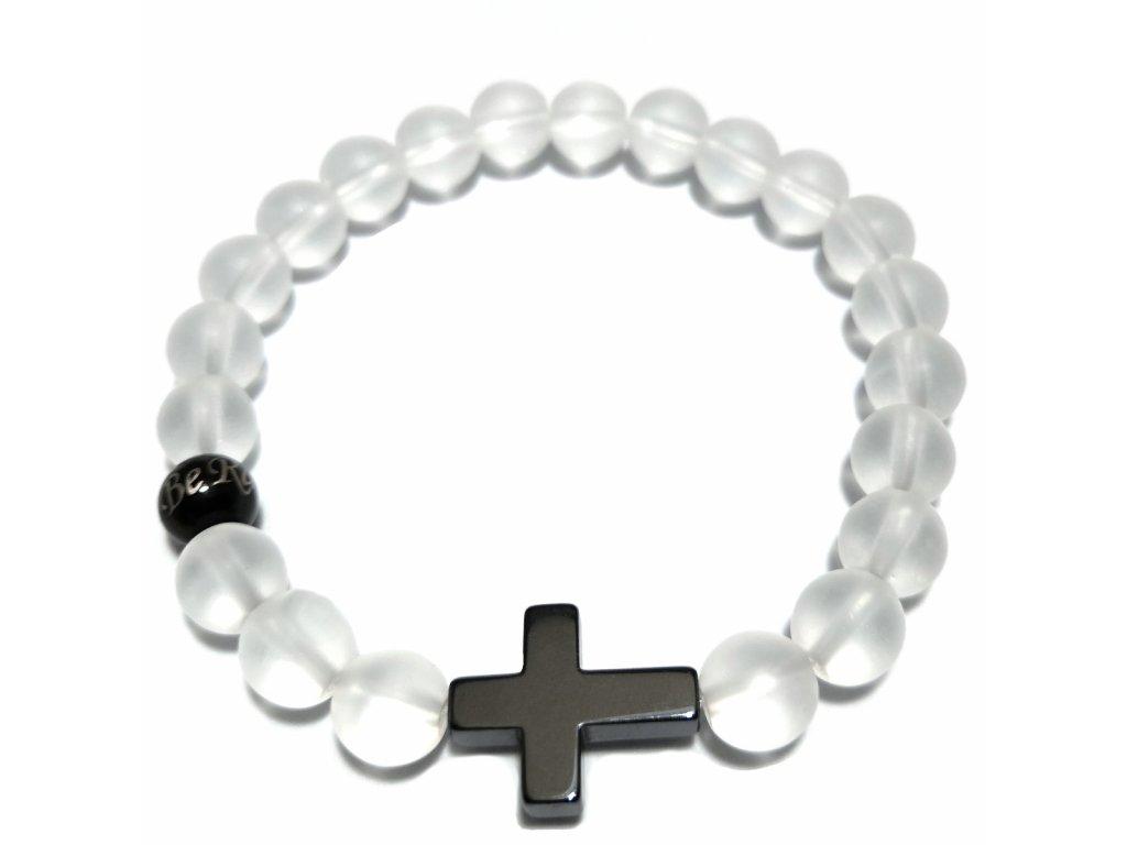 Luxusní dámský korálkový náramek Premium zmražený křišťál s křížkem z hematitu