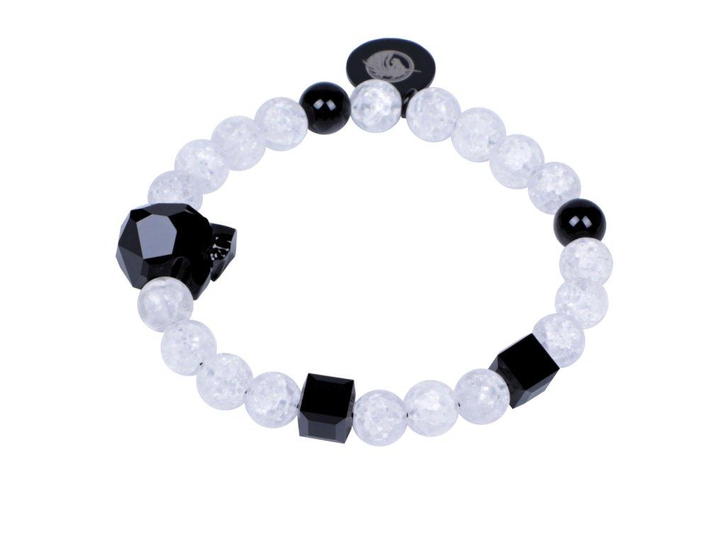 Luxusní dámský korálkový náramek práskaný křišťál a černý achát Leopard B&W Crack s hlavou Swarovski® AAAAAA | Be Rare