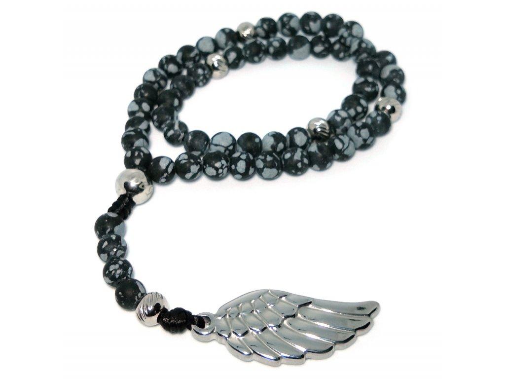Originální růženec do auta z vločkového obsidiánu a křídlo anděla z chirurgické oceli