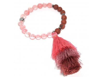 Dámský náramek se střapcem z třešňového achátu a rudého jaspisu  + Dárkový sáček na japa mála│Čistící hadřík