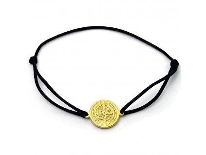 Provázkový náramek medailonek Svatý Benedikt ve zlaté barvě