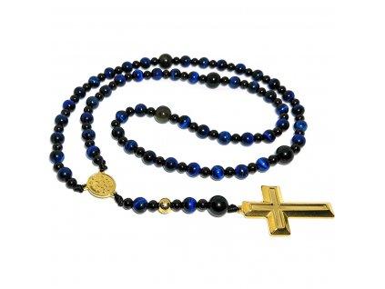 Růženec náhrdelník modré tygří oko
