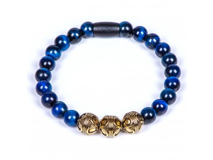 Luxusní pánský korálkový náramek Premium Tiger eye blue modré tygří oko AAAAAA chirurgická ocel prvek zlatý černý Be Rare
