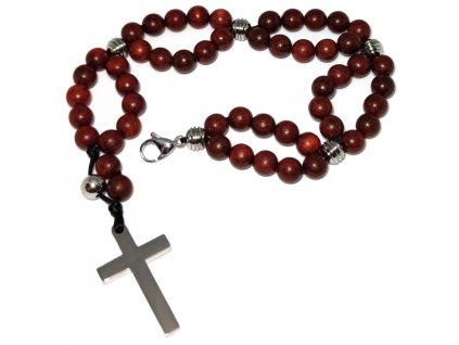 Dřevěný růženec a růžence a kříž z chirurgické oceli