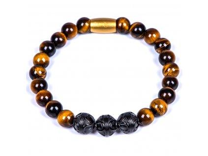Luxusní pánský korálkový náramek Premium Tiger eye hnědé tygří oko AAAAAA chirurgická ocel černá zlatý prvek Be Rare
