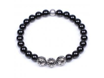 Luxusní pánský korálkový náramek Premium Black Agate černý achát AAAAAA chirurgická ocel Be Rare