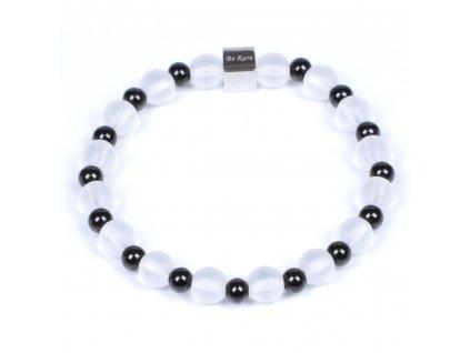 Luxusní dámský korálkový náramek křišťál Premium Black & white AAAAAA Black černo bílý