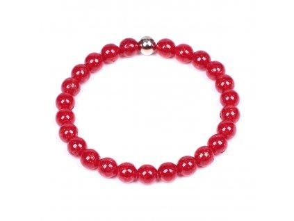Luxusní dámský korálkový náramek červený Simple Red Blood | Be Rare