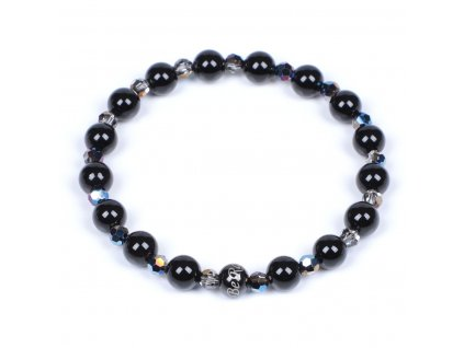 Luxusní dámský korálkový náramek černý achát se Swarovski Premium Metallic Blue | Be Rare