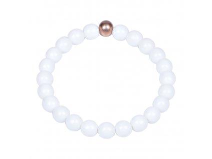 Luxusní dámský korálkový náramek bílý Simple White Rose Gold | Be Rare