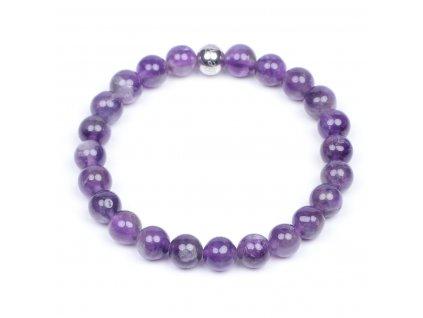 Luxusní dámský korálkový náramek ametyst levandulový Simple Ametyst lavender amethyst AAAAAA | Be Rare