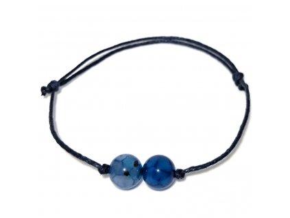 Luxusní pánský provázkový náramek modrý achát Blue Dragon Veins dračí žíly