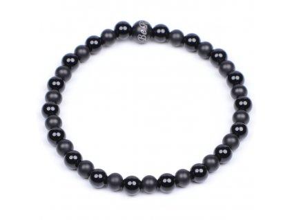 Luxusní dámský korálkový náramek Premium Minimalistic Black černý achát AAAAAA chirurgická ocel Be Rare