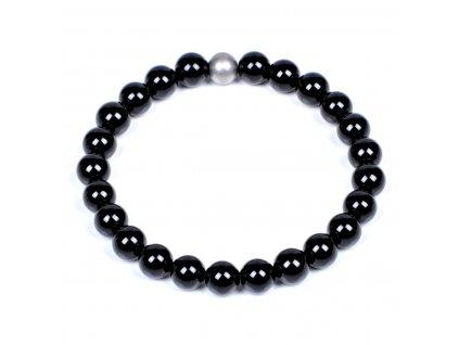 Luxusní dámský korálkový náramek Simple Black Silver stříbrný černý Be Rare