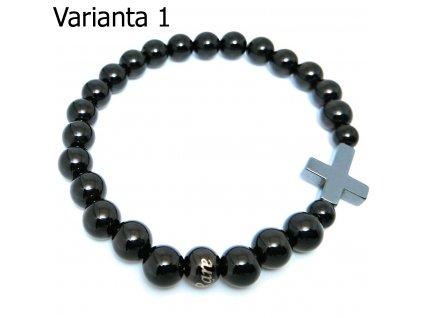 Luxusní pánský korálkový náramek kříž z hematitu a černý achát v top kvalitě