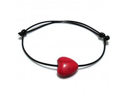 Dámský provázkový náramek srdce z červeného tyrkysu