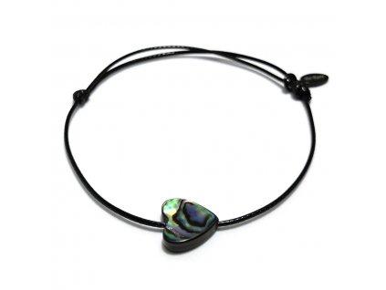 Dámský provázkový náramek srdce z mušle Mother of pearl