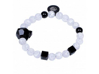 Luxusní dámský korálkový náramek práskaný křišťál a černý achát Leopard B&W Crack se Swarovski® AAAAAA