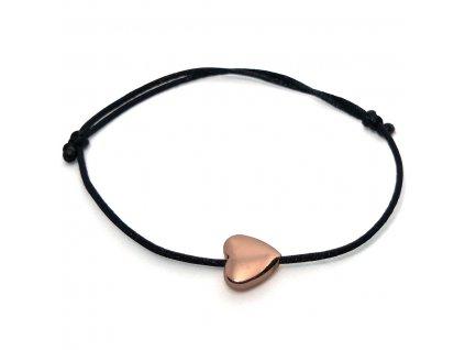 Dámský náramek srdce z hematitu růžové zlato