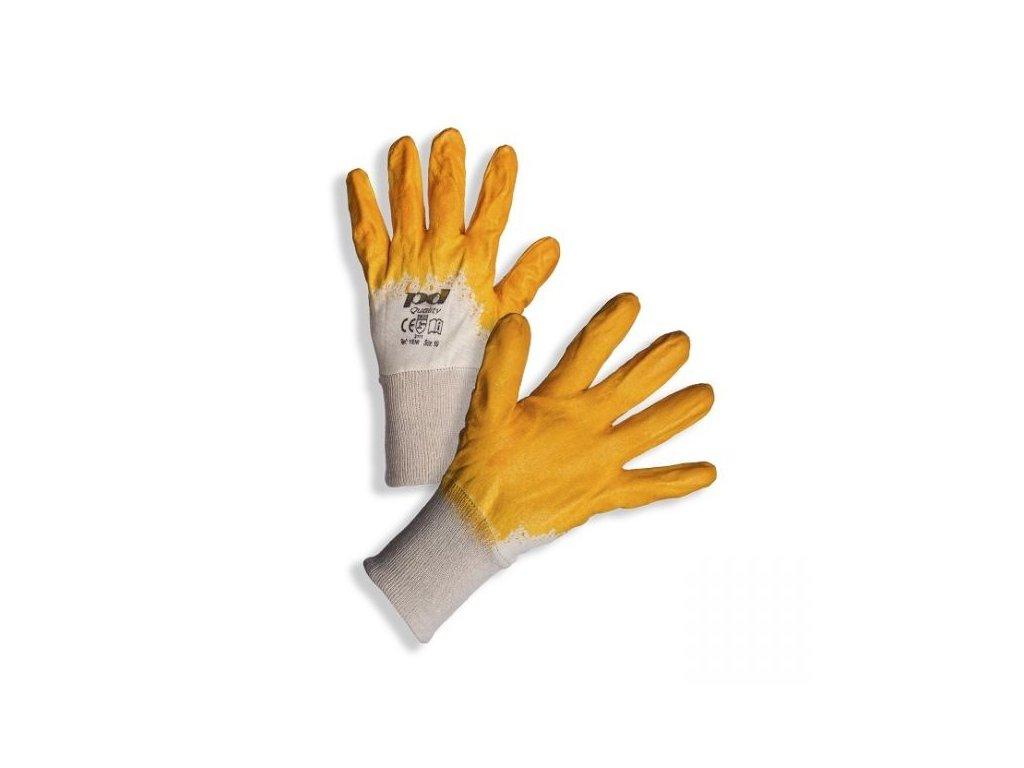 PD-YENI Bavlněné rukavice povrstvené žlutým nitrilem
