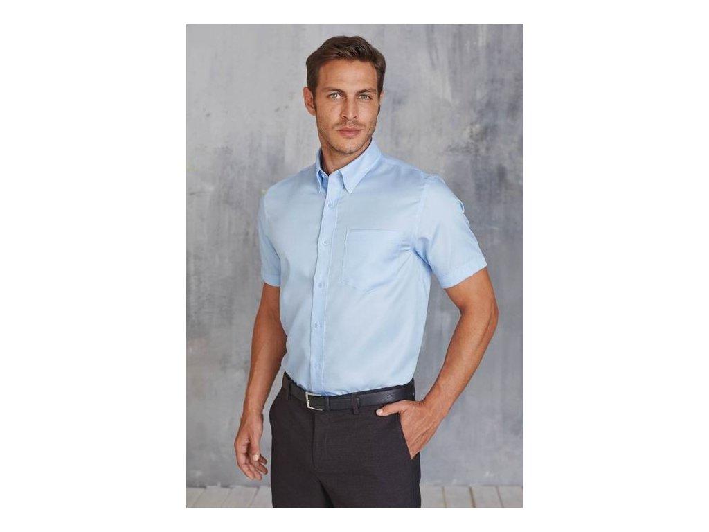 Pánská košile krátký rukáv v nežehlivé úpravě K539
