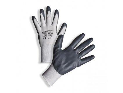 PD-1001 Bílé rukavice povrstvené šedým nitrilem