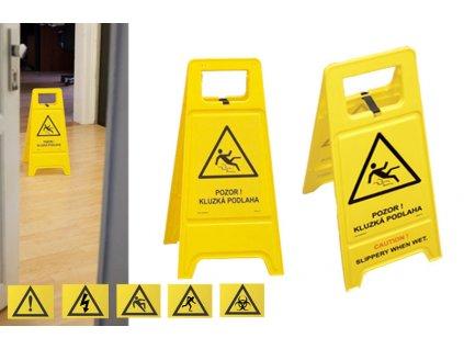 Výstražný stojan - tabule - Pozor kluzká podlaha