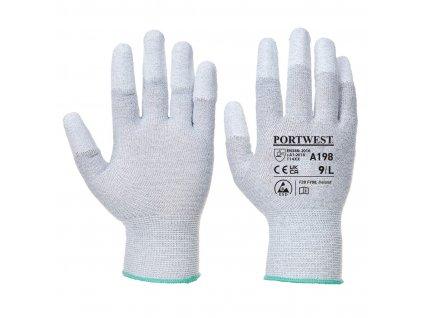 Antistatické rukavice PU Fingertip