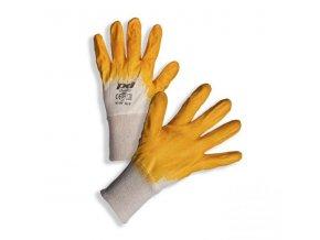 PD-YENI Bavlněné rukavice povrstvené žlutým nitrilem - Výprodej!