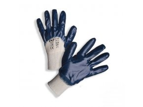 PD-319B Bavlněné rukavice povrstvené modrým nitrilem