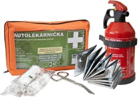 Komplet autolékárnička + hasicí přístroj