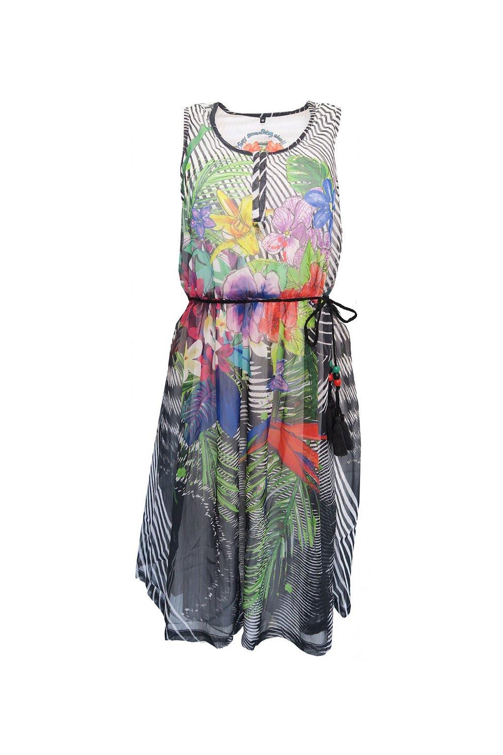 Desigual barevné šaty s korálkovým páskem
