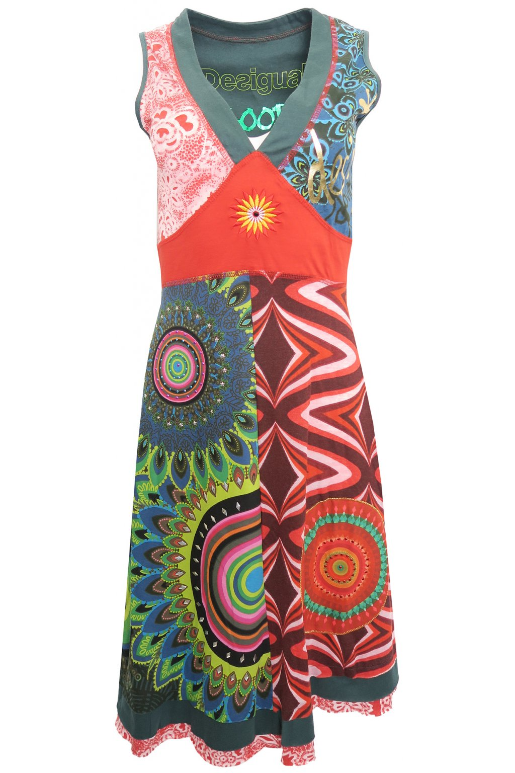 Desigual barevné zdobené šaty
