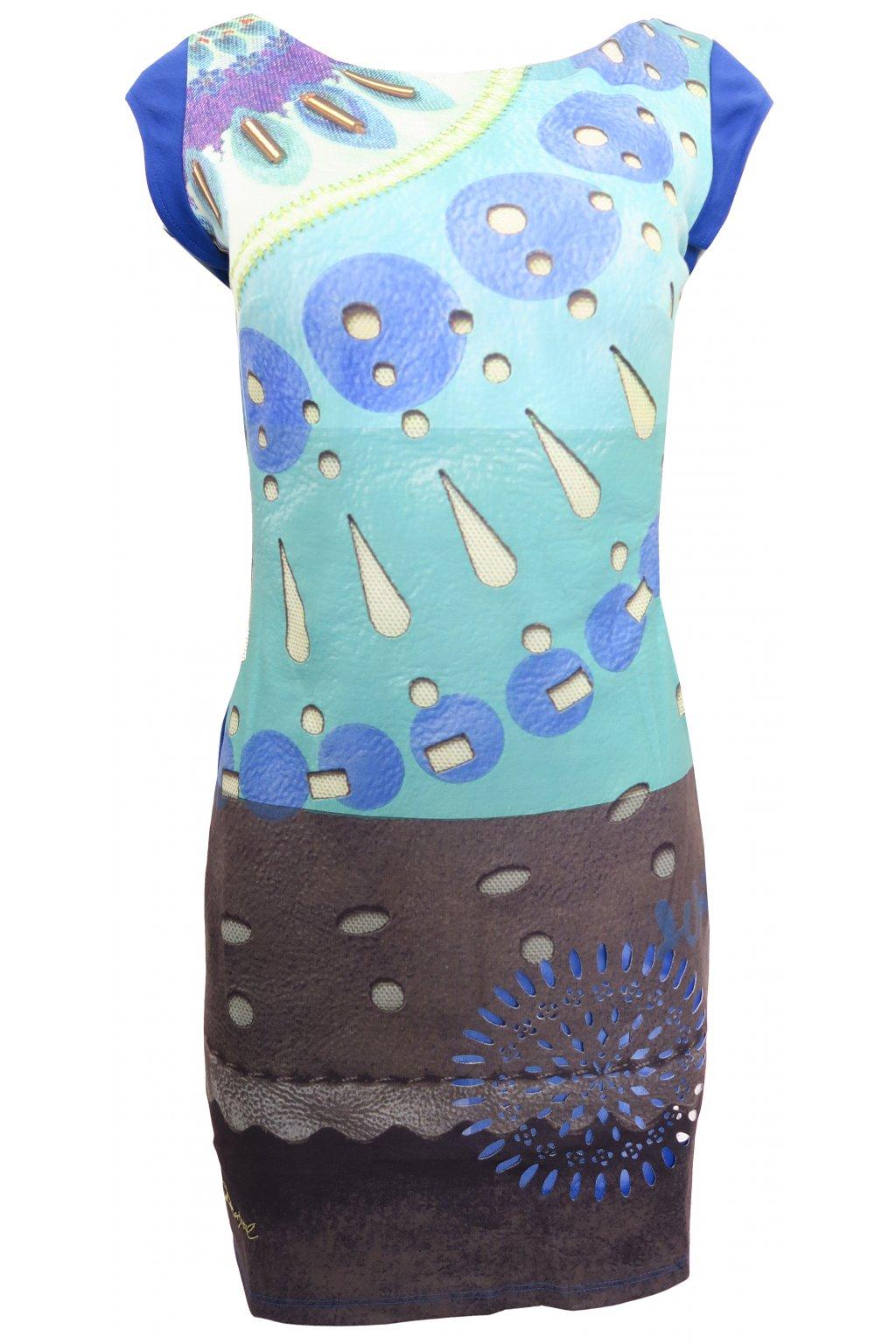 Desigual modrozelené vzorované šaty