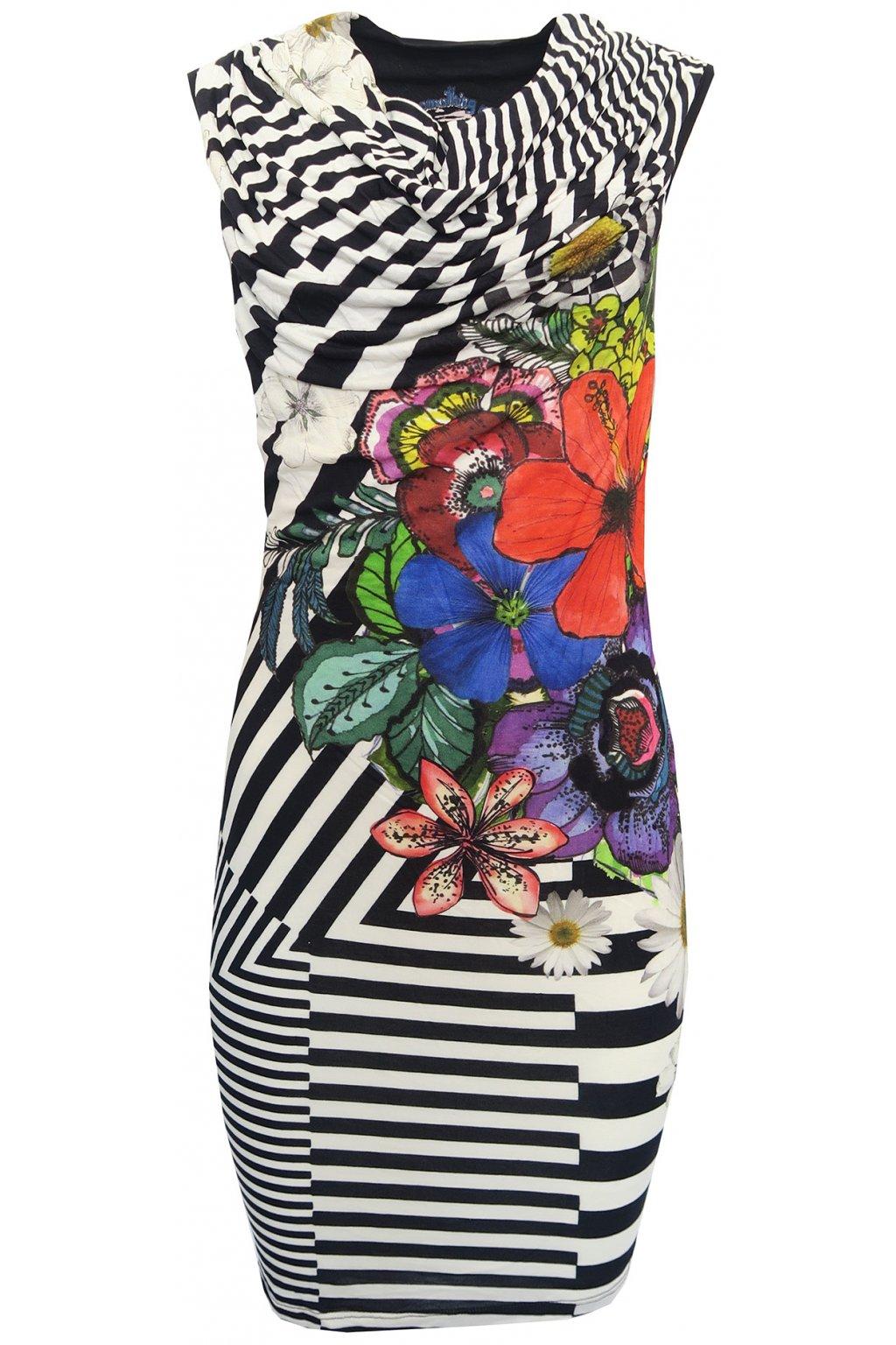 Desigual pruhované šaty s barevnými květy