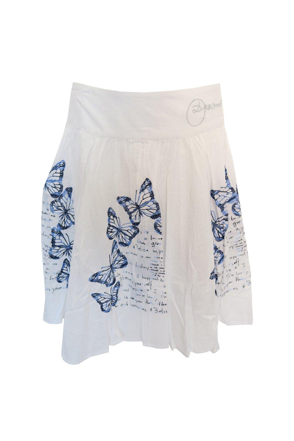 Desigual bílá sukně s motýly