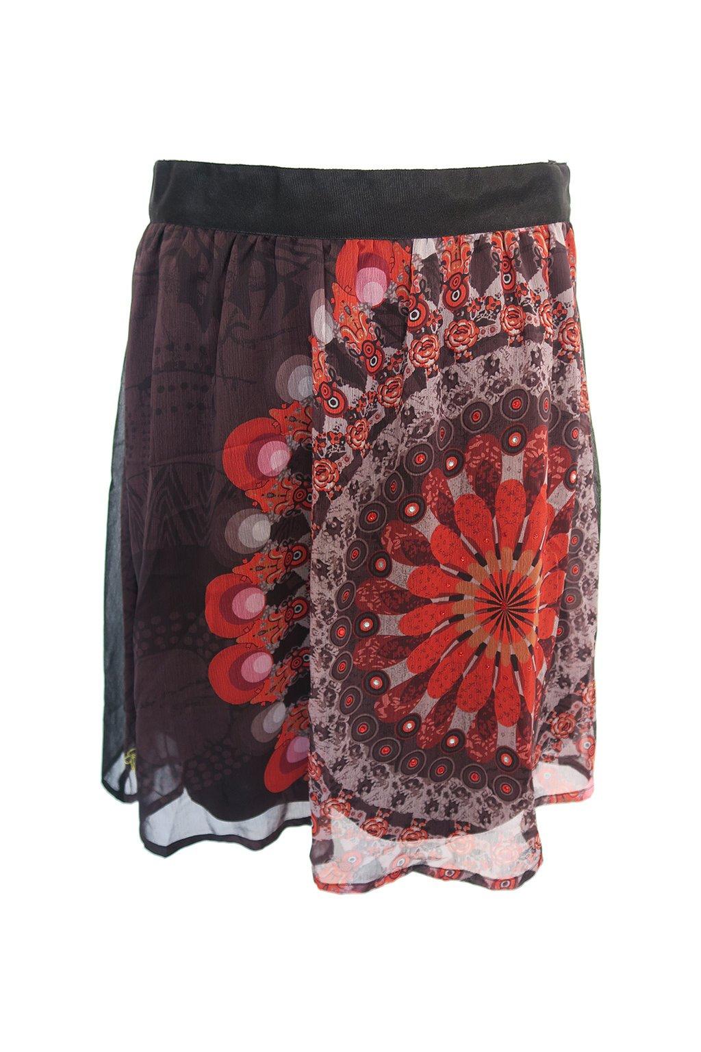 Desigual černá sukně s červeným vzorem
