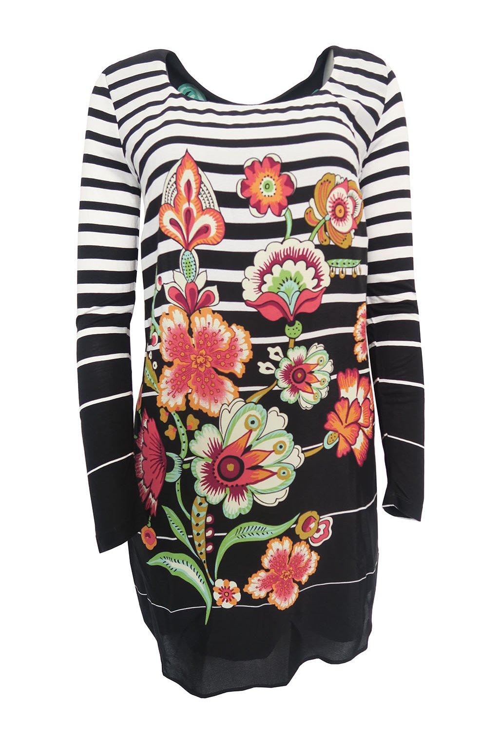 Černé pruhované šaty s květy Desigual