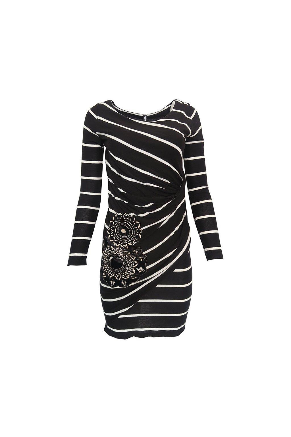 Černobílé pruhované šaty Desigual