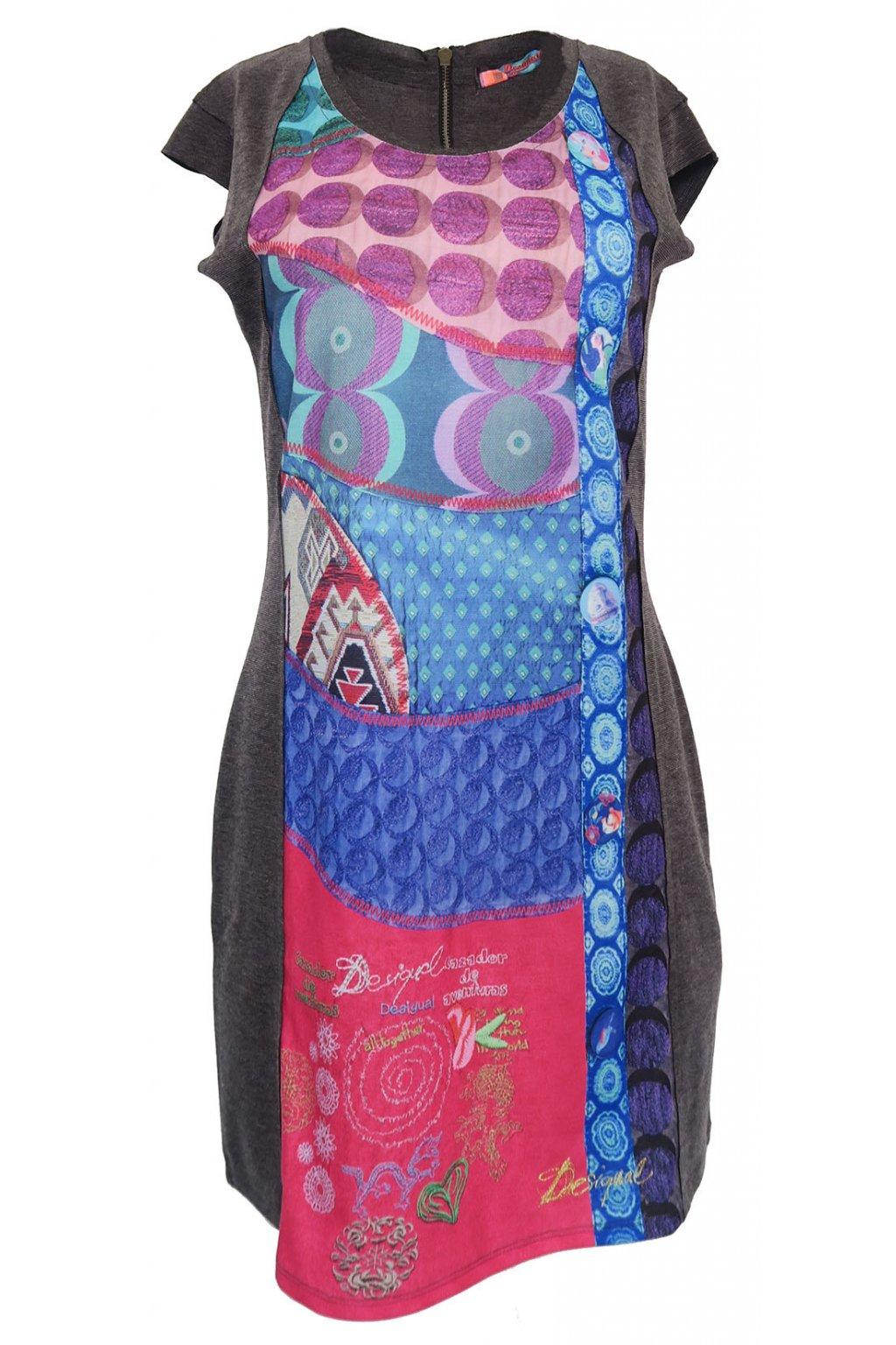 Šedé šaty s fialovomodrým vzorem Desigual
