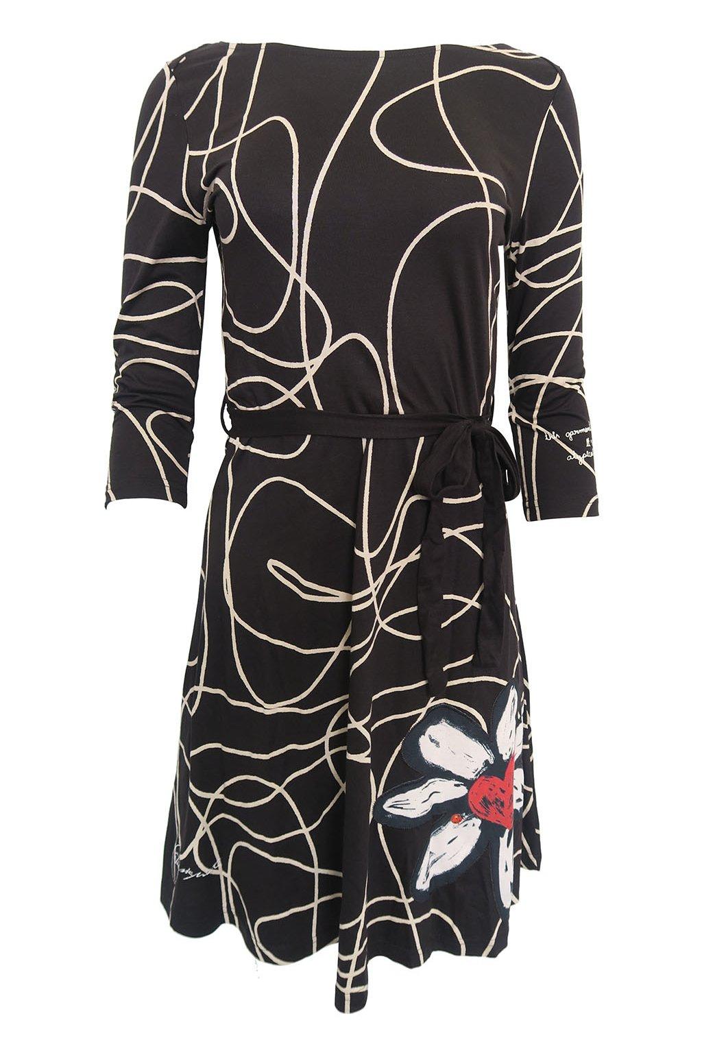 Černé šaty se vzory a květinou Desigual