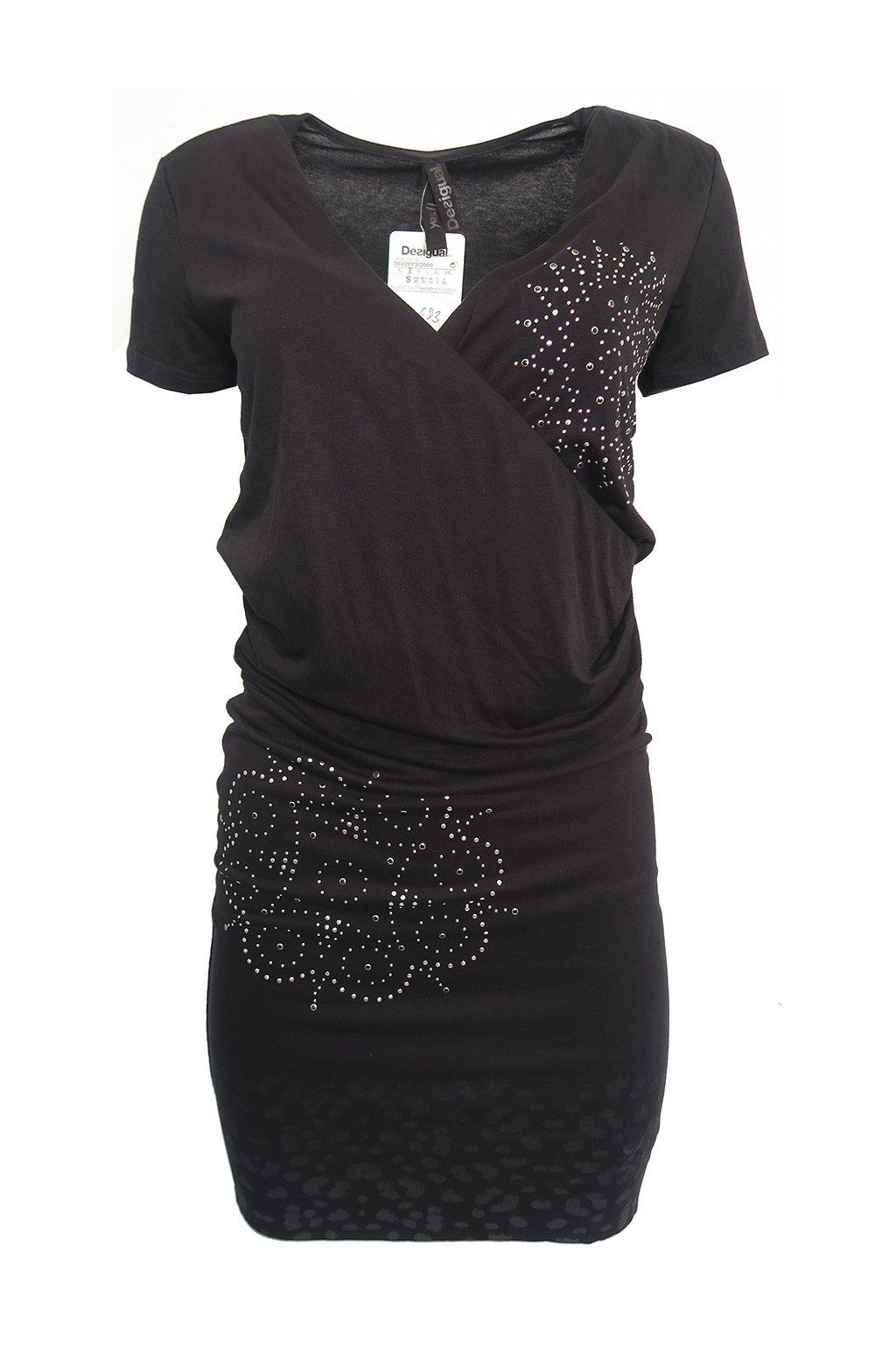 Černé šaty se stříbrnými květy Desigual