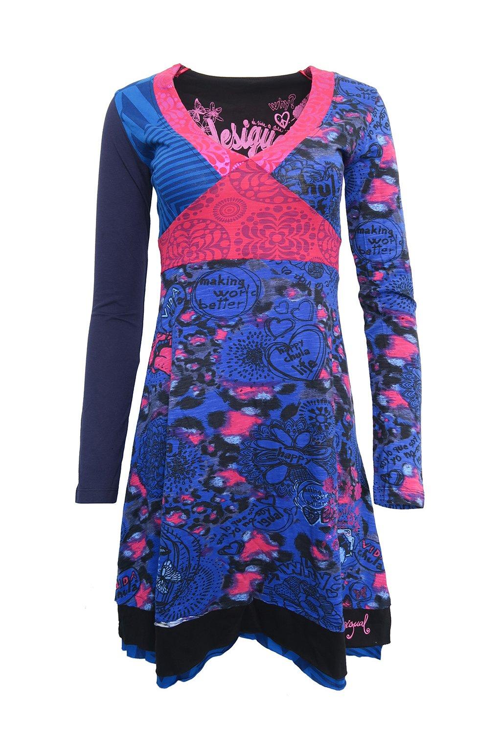 Modrorůžové šaty se srdíčky Desigual