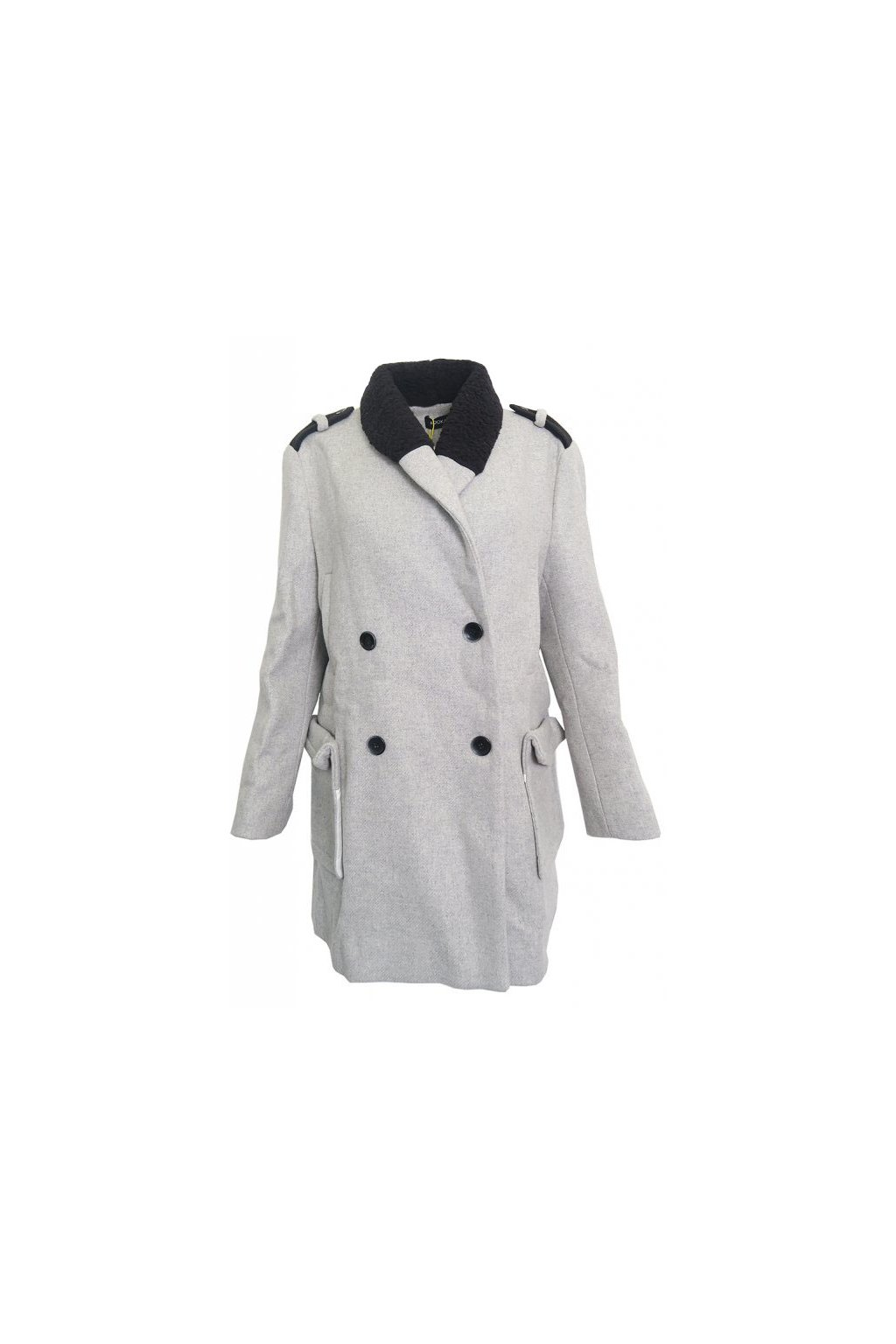 Šedý kabátek s černým limcem Kookaï