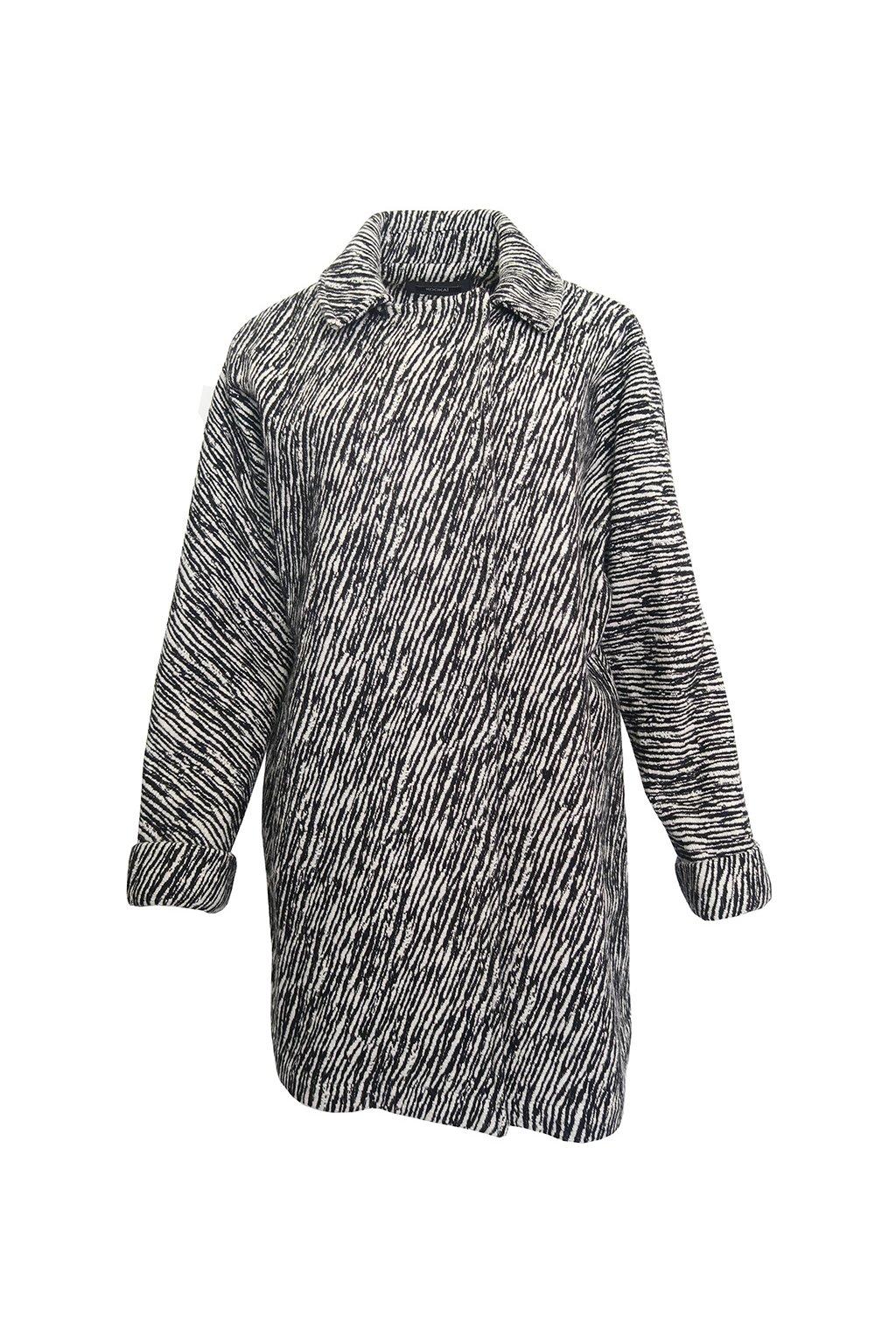 Vzorovaný bíločerný kabát Kookaï