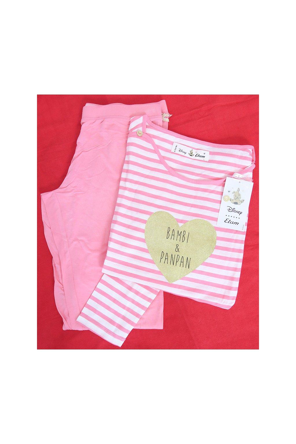 Růžové pruhované pyžamko se zajíčkem Etam