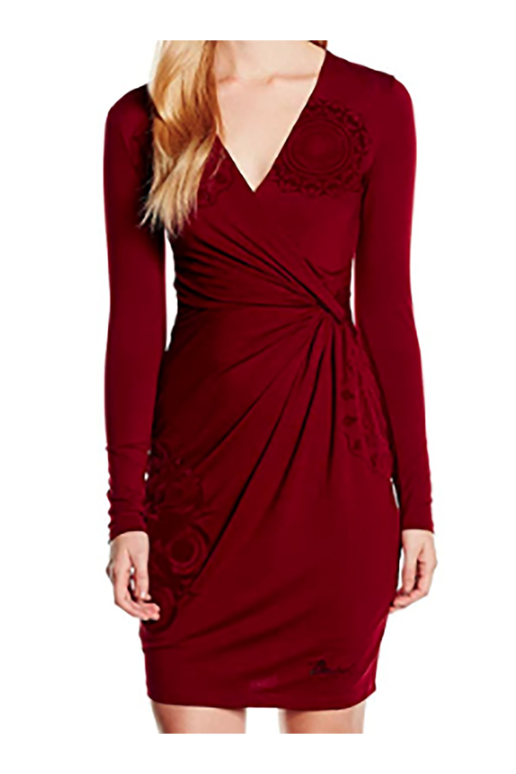 Vínové šaty se semišem Desigual